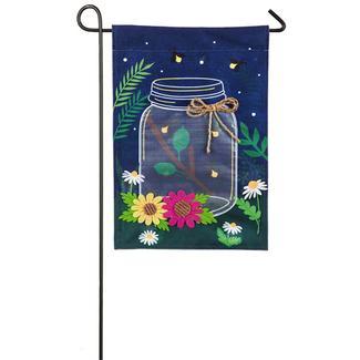Fireflies with Mason Jar Linen Garden Flag