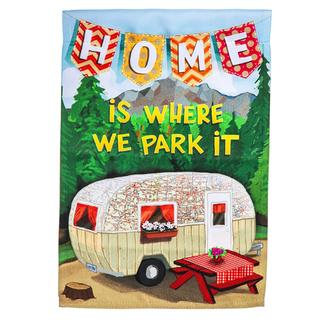 Home Is Where We Park It Suede Garden Flag