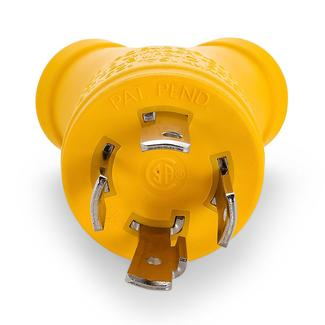 Power Grip 30 Amp M&#x2f&#x3b;2 x 15 Amp F Generator Adapter, 4-Prong