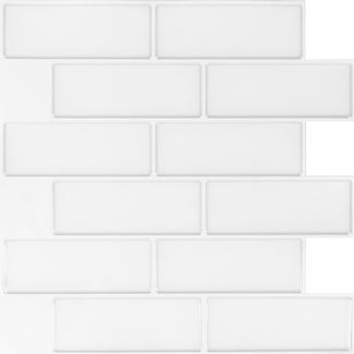 Peel and Stick Mosaic Wall Tiles, White Mountain Subway- 5 Pack