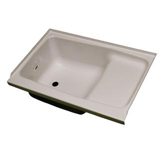 """Replacement ABS Step Tub, 24"""" x 36"""", Parchment with Left Drain"""