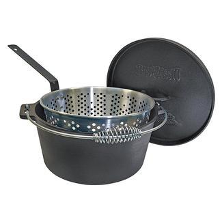 Bayou Classic&reg&#x3b; 14-qt. Dutch Oven with Basket 14-qt. Cast Iron Dutch Oven with Perforated Aluminum Basket