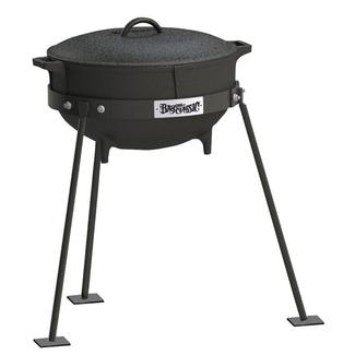 Bayou Classic® 5-gal Cast Iron Jambalaya Pot (Kettle) Cast Iron Lid, Steel Tripod Stand, and Lift Hooks