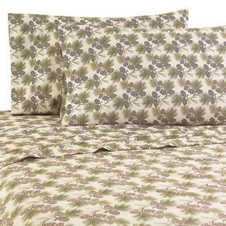 Micro Flannel® RV Sheet Set, Short Queen - Pine-cones