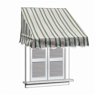ALEKO 8x2 Multistripe Green Window Awning Door Canopy 8-Foot Decorator Awning