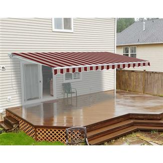 ALEKO 10' X 8' Retractable Patio Awning Multistripes Red