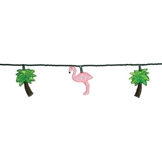 Flamingo &amp&#x3b; Palm Tree Mini Light Set, 10 Lights, 8 1&#x2f&#x3b;2&rsquo&#x3b; Cord