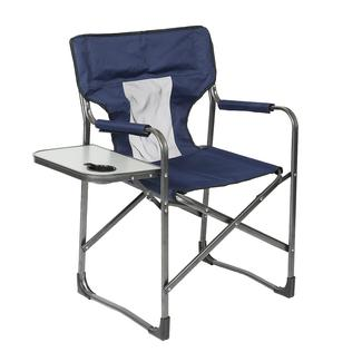 Mesh Director&rsquo&#x3b;s Chair with Side Table, Navy Blue