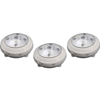 Wireless LED Puck Light with Auto On/Off Sensor, 3pk - White