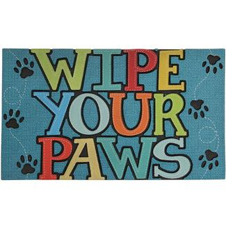 Wipe Your Paws Design Patio Mat, 18'' x 30'', Brown/Multi-Color