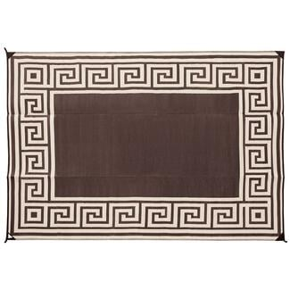 Reversible Greek Motif Design Patio Mat, 6' x 9', Coffee Brown