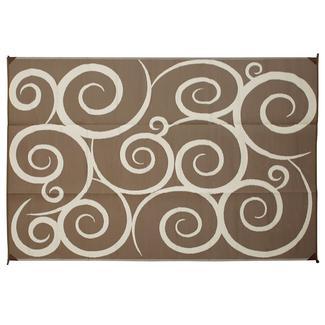 Reversible Swirl Design Patio Mat, 8' x 16', Brown/Cream