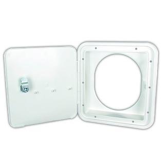 Polar White Key Lock Fuel Hatch with Oval Back