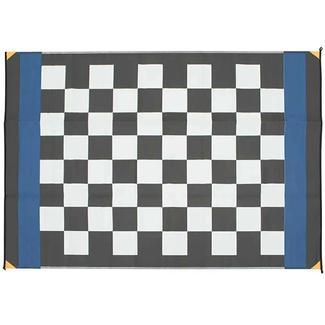 Checkered Flag Design Patio Mat, 6' x 9', Black/White