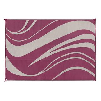 Wave Design Patio Mat, 8&#x27&#x3b; x 16&#x27&#x3b;, Beige&#x2f&#x3b;Bordeaux