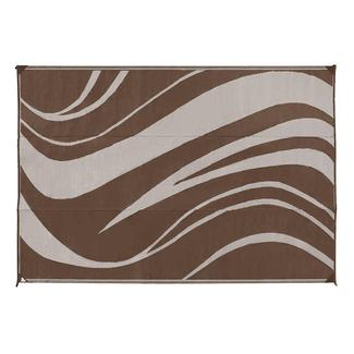 Reversible Wave Design Patio Mat, 8' x 16', Brown/Cream