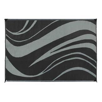 Reversible Wave Design Patio Mat, 8' x 16', Black/Gray
