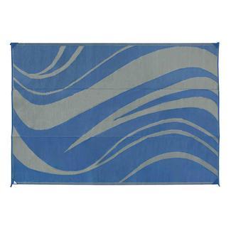Reversible Wave Design Patio Mat,  8' x 16', Navy