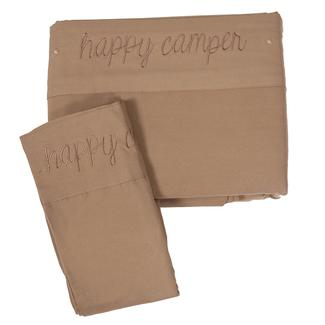 Microfiber Embroidered Sheet Set Taupe, Happy Camper, Bunk