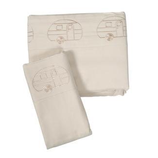 Microfiber Embroidered Sheet Set, Ivory, Vintage RV Design, Short Queen