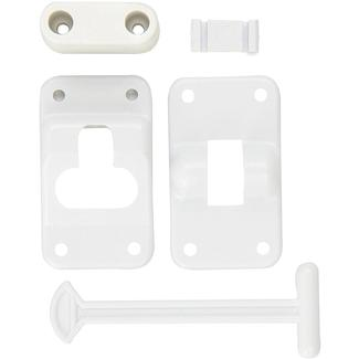 "Polar White T-Style RV Door Holder, 4"" with 1 ¼"" Bumper"