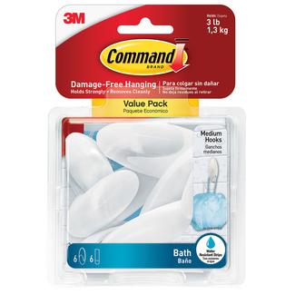 Command Medium Bath Hooks, 6 Pack, Frosted