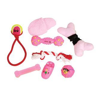 8 Piece Pet Toy Set, Pink