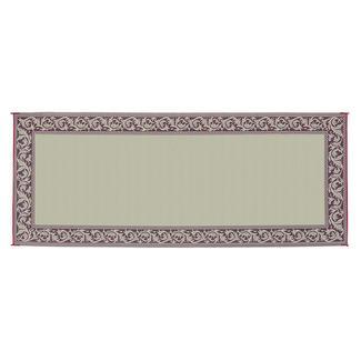 Reversible Classical Design Patio Mat, 8' x 20', Burgundy/Beige