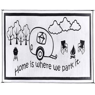 "Reversible ""Home Is Where We Park It"" Patio Mat, 8' x 11', Black/White"