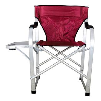 Folding Director Chair with Side Table, Burgundy