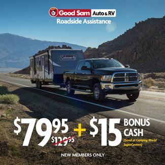 1 Year Good Sam Roadside Assistance Plus $15 Bonus Cash