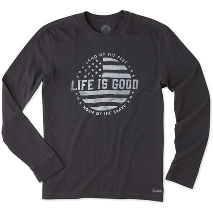 Life is Good Men's Long Sleeve Land of the Free Crusher Tee, Large