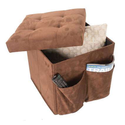 Tufted Top Storage Ottoman, Brown