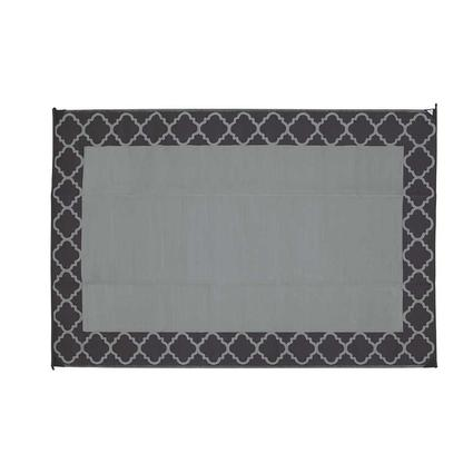 Perfect Patio Mat, Polypropylene, Trellis Design, 9u0027x12u0027, Black/Gray
