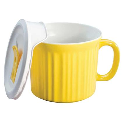 CorningWare 20-oz Mug with Vented Lid, Yellow