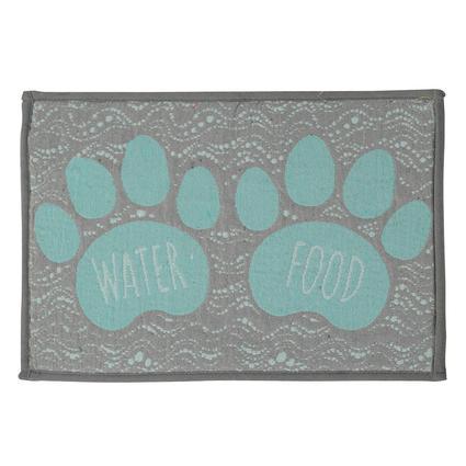 Pet Food Water Bowl Mat, Food Water Pet Design, 12.75x19, Blue/Gray