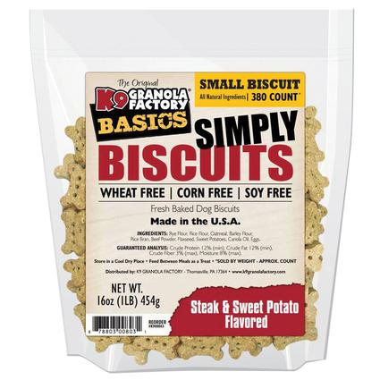 Simply Biscuits Small Steak and Sweet Potato Dog Treats, 16 oz. Bag