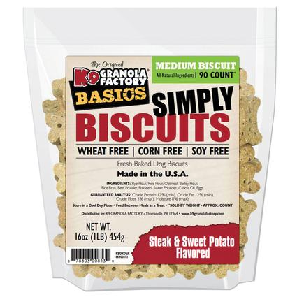 Simply Biscuits Medium Steak and Potato Dog Treats, 16 oz. Bag