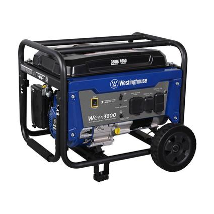 Westinghouse WGen3600 Gas Powered Portable Generator, 3600 Running Watts/4650 Peak Watts, CARB Compliant