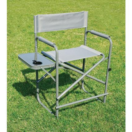 Tall Gray Directoru0027s Chair With Solid Footrest