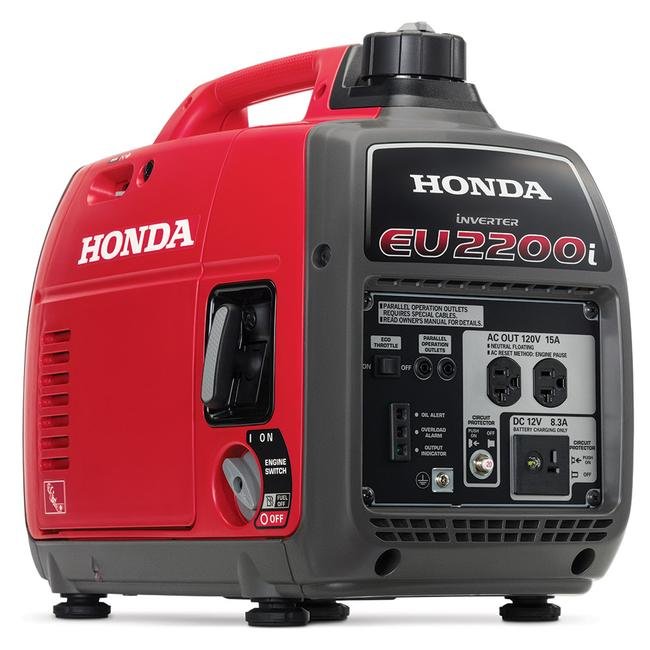 generator with honda up of close tech snowy area climate cold wooded in generators background