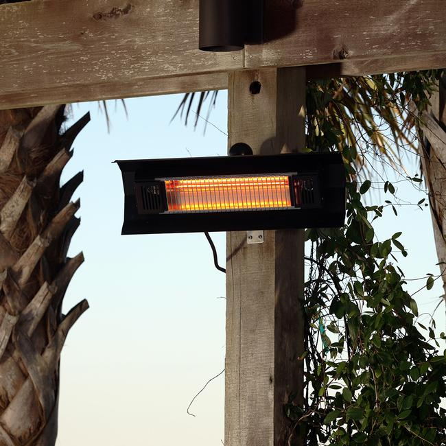 Image Black Steel Wall Mounted Infrared Patio Heater. To Enlarge The Image,  Click Or .