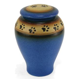Ceramic Paw Print Pet Urn, Blue, Large
