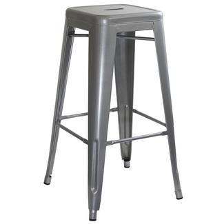 AmeriHome Loft Metal Bar Stool, Silver