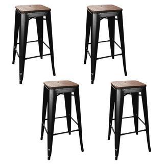 AmeriHome Loft Metal Bar Stool, Black, Wood Seat, Set of 4