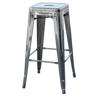 AmeriHome Loft Metal Bar Stool, Chrome, 30