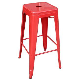 AmeriHome Loft Metal Bar Stool, Red