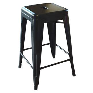 AmeriHome Loft Metal Bar Stool, Black, 24
