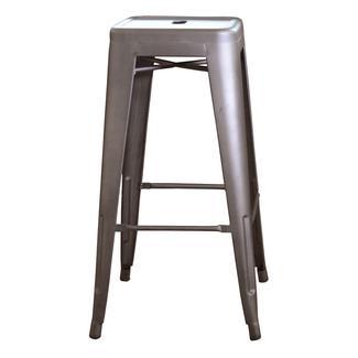 AmeriHome Loft Metal Bar Stool, Gun Metal Silver