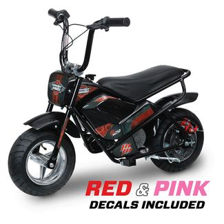 Classic e-Mini Bike with Red and Pink Decals